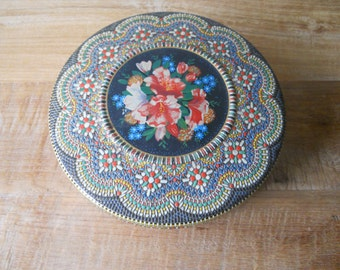 Vintage Colorful  Floral Container