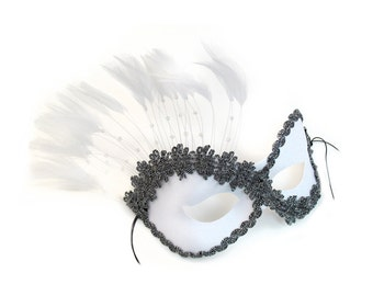 Persuasion White Masquerade Ball Mask - A-0774W-E