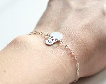"Sterling silver skull and chain bracelet ""Tim Burton"", Halloween jewelry"