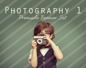 """Banner Set - Shop banner set - Premade Banner Set - Graphic Banners - Facebook Cover - Avatars - Business Card - """" Photography 1"""""""
