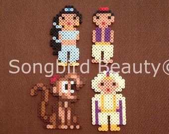 Jasmine, Aladdin, Prince Ali, Abu, Perler beads, Disney, Geekery,