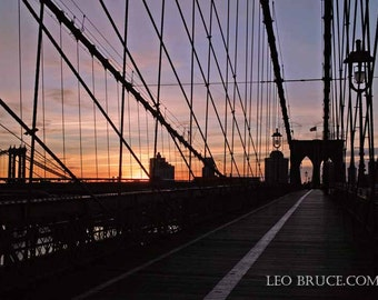 Print, Urban Landscape, Brooklyn Bridge Sunrise, NYC November 2011