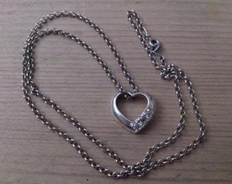 vintage sterling silver and CZ floating heart pendant with belcher chain