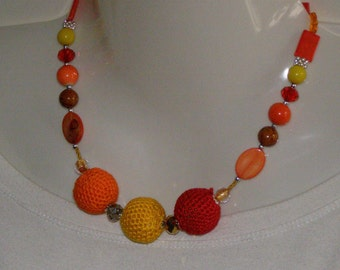 cotton necklace Orange, yellow, Red