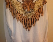 Vintage 1990s FREDERICK  HOLLYWOOD TIGER Glitter Batwing Jumper Pullover sweatshirt nu wave hip hop size  Large
