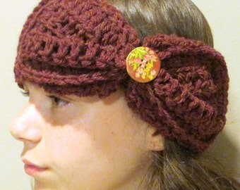 Crochet Pattern Headband Earwarmer Bow Adults and Teenagers