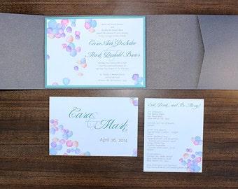 Pastel Petals multi color Wedding Invitation Suite - Customize colors