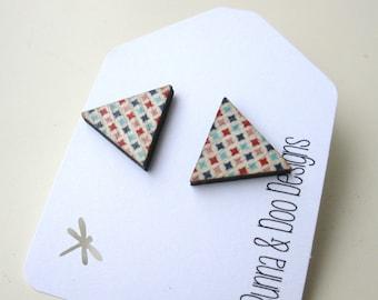 Geometric Triangle Wood Earrings.  Triangle Stud Earrings.