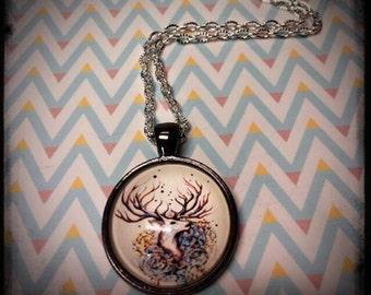 Deer Love- silver necklace