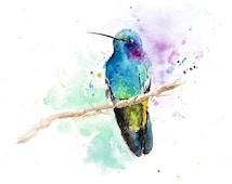 HUMMINGBIRD ART - green hummingbird watercolor, hummingbird gift, bird art, bird lover gift, art print bird