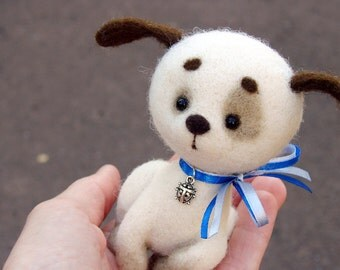 PUPPY. Woollen DOG.  Felted DOGGY. Needle Felted Toy Pet. Felt Puppy Soft Sculpture. Handmade Toy. Collectable dog. Home decor.