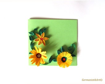 Yellow Flower Quilling Birthday Card, Blank Quilled Greeting Card, Mini card, Thank you card, Gift card