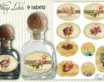 Vintage Label - Printable vintage labels - Digital Collage Sheet - Digital Labels-Download Printable -