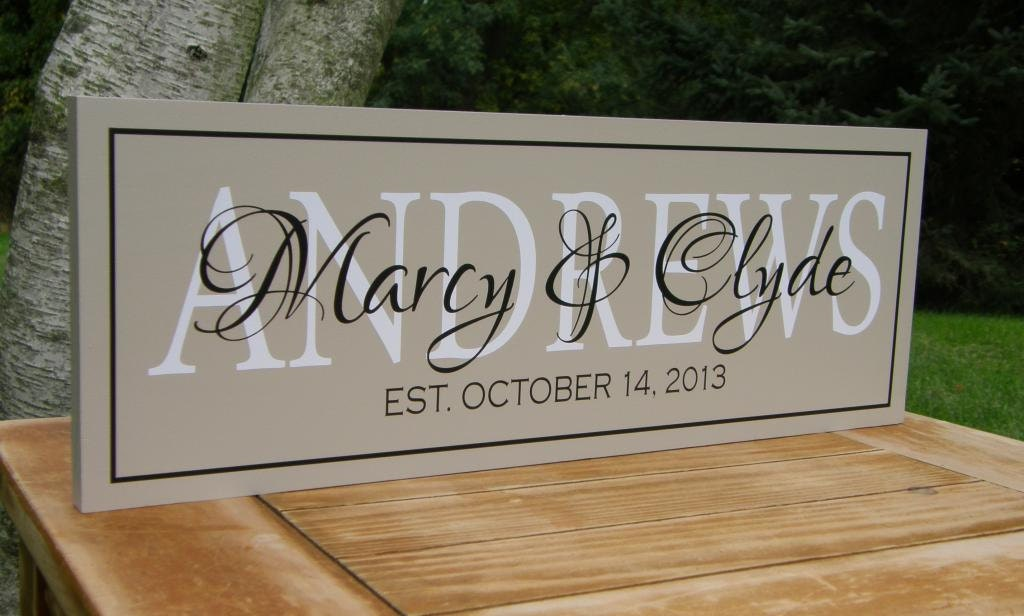 Wedding Gift Personalised: Personalized Wedding Gift Family Established Sign With Date
