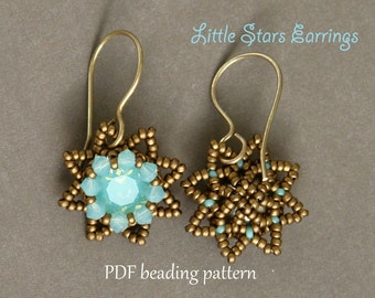 Beaded Earrings Tutorial - Beaded Earrings Pattern - 8mm Bezeled Swarovski Chatons - Swarovski Earrings Tutorial
