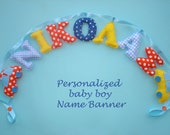 Customized boy name banner with cars, Fabric name banner, Yellow - Orange- Blue color pattern with 2 Car ornaments