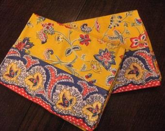 Pair of Standard Pillowcases, Golden Yellow Provincial Cotton Print