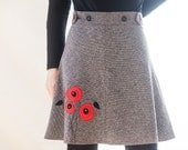 One size fits all, Wrap skirt. Black and with thick cotton fabric with poppies applique. Midseason, spring, autumn.