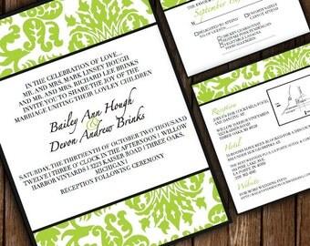 Demask Wedding Invitations - Custom