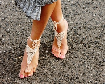 Crochet Barefoot Sandals, Barefoot Bridal Sandals, Body Jewelry, Wedding Feet Thong, Wedding Sandals, Crochet Foot Thong, Yoga Foot Wear