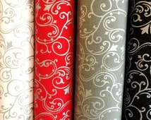 Pearle Metallic Scroll 2237 Cotton Fabric Collection by Henry Glass! Red, White, Grey, [Choose Your Cut Size]