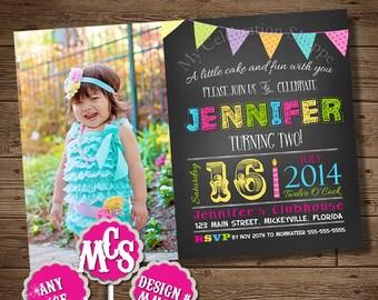SUMMER INVITATION, Birthday Invitation, Pink, Blue, Yellow, Chalkboard, Chalkboard Invitation, Party Invitation, My Celebration Shoppe, Card