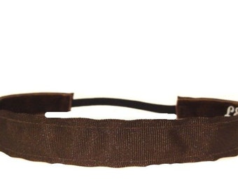 non-slip headband Brown grosgrain  7/8""