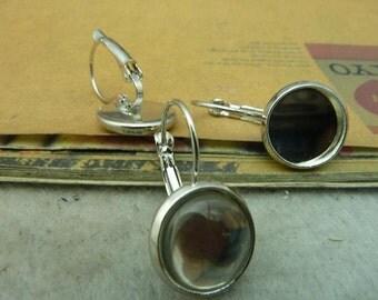 20 Ear Hook- 12mm Bezel Cup White Gold Gun Black  AC3350
