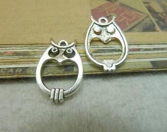 20pcs 16x22mm Antique Bronze/ Antique Silver Owl Charms Pendants Wholesale AC6609