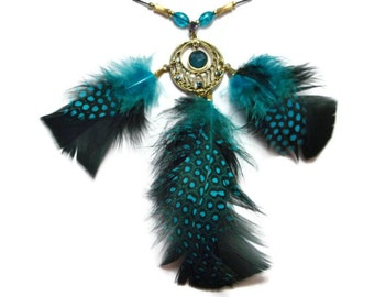 Teal and black guinea feather jeweled pendant necklace set