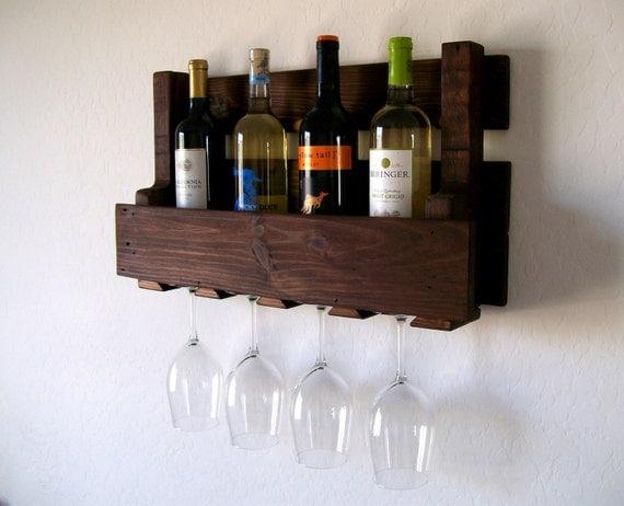 Wine Rack Wine Glasses Wine Bottles Pallet Wood Wine Rack Dark