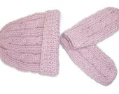 Pink Cable Hat and Mitten Set / Hand Knitted Baby Hat Set / Hand Knit Baby Hat Set / Wool / 6-12 Months/ Baby Accessories / Baby Clothing