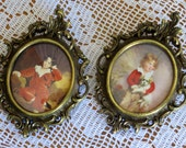 Vintage Set of Two Ornate Brass Framed Pictures Mid Century French Cottage Home Decor Country Cottage Farmhouse