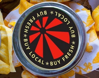 """24 mason jar Buy Fresh Buy Local  2"""" round canning labels four digital download sheets two designs"""