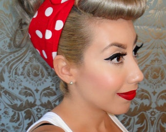 Rosie the Riveter Red with White Polka Dot Bandana - PinUp - Rockabilly- 1950s inspired