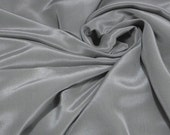 """Silk Crepe De Chine 45"""" wide 12mm Pure Silk Crepe De Chine (Silver Gray) by 0.5 or FULL Yards Meters(crepe-012 )"""