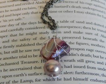 Incredibly Unique Pink Stone and Blush Pink Pearl Wire Wrapped Necklace