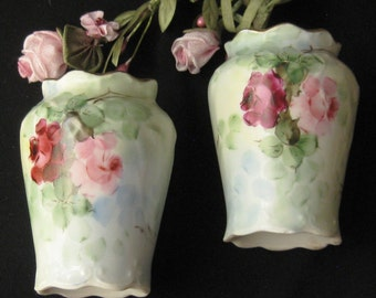 Antique Victorian / Edwardian Hand Painted Salt and Pepper - Roses