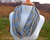 Gold Sparkle & Grey Striped Infinity Scarf, Circle Scarf