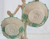 Vintage Hand Crocheted Pot Holders Ecru and Green-EPSTEAM