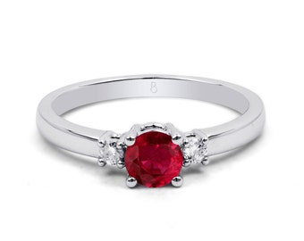 18ct White Gold Ruby & Diamond 3 Stone Engagement Ring 0.1ct 2mm