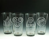 Avatar, Glass, Glassware, The Last Airbender, Legend of Korra, Elements, Pint Glass, Etched Glass, Engraved Glass