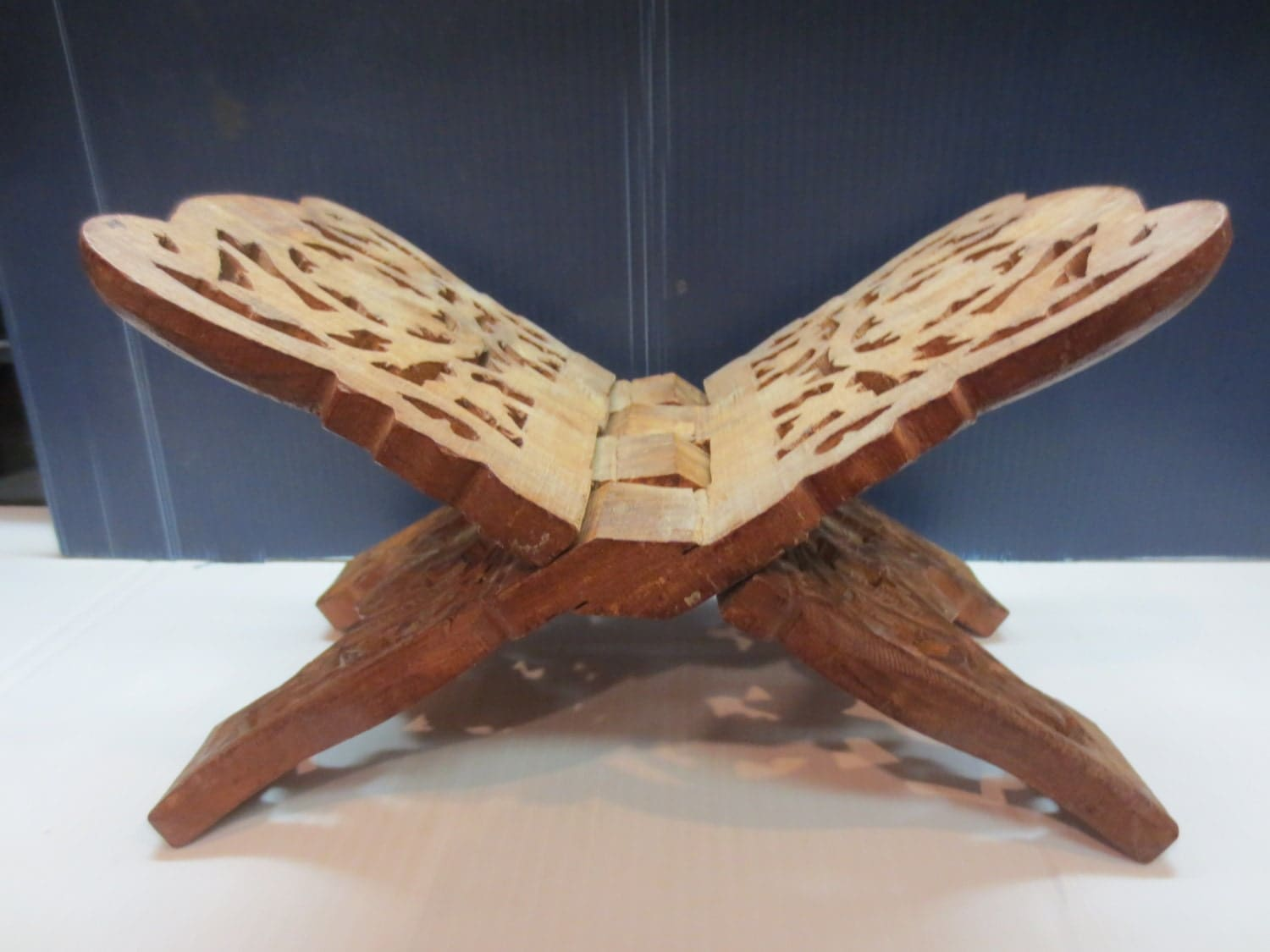 Wooden Bible Stand ~ Wooden hand carved book stand cookbook holder bible