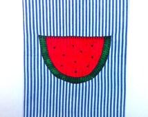 Country Watermelon Fruit Summer Handmade Applique Tea Towel, Kitchen Towel, Dish Towel, Hand Towel Home Decor