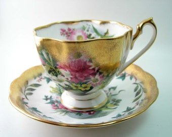 Antique Queen Anne Tea cup, Signed Fedden,  White & Gold Cup And Saucer, English tea cup and saucer set, Gold tea cup signed Fedden