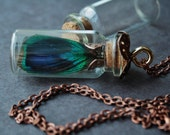 Glass vial necklace steampunk necklace steampunk peacock necklace neo victorian jewelry gothic pendant bridesmaid gift ready to ship VANITY