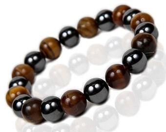 Tigers Eye Bracelet, Hematite Stretch Bracelet
