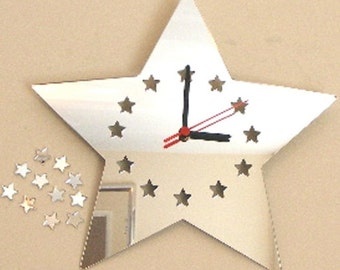 Star Clock Mirror with Star Digits - 2 Sizes Available