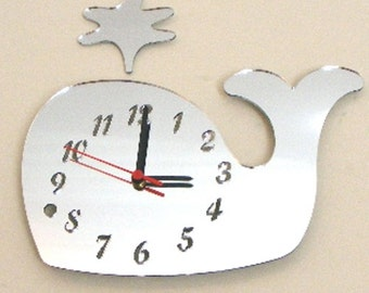 Spurting Whale Clock Mirror - 2 Sizes Available