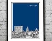 Lancaster Poster Print Art Pennsylvania City Skyline Downtown